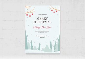 Fototapeta Simple Christmas Flyer Card with Winter Scene obraz