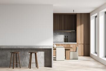 Obraz Bright kitchen room interior with empty white wall, two barstools - fototapety do salonu