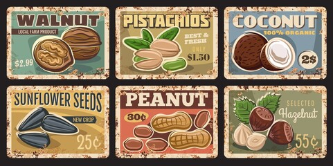 Obraz Nuts and seeds rusty plates. Walnut, pistachios and coconut, sunflower seeds, peanut and hazelnut vector grungy tin signs. Organic food market or farm banners, price tags - fototapety do salonu
