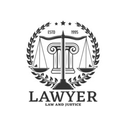 Fototapeta Lawyer icon with justice scales and legislation laurel wreath vector sign. Legal counselor and juridical service office emblem for notary or legal lawyer, judicial attorney or barrister advocate obraz