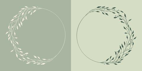 Obraz Ręcznie rysowane wianki z listków i gałązek. Botaniczne ozdobne zielone ramki. Dekoracyjne elementy do wykorzystania na zaproszenia ślubne, monogram, karty, życzenia, vouchery, tło dla social media. - fototapety do salonu
