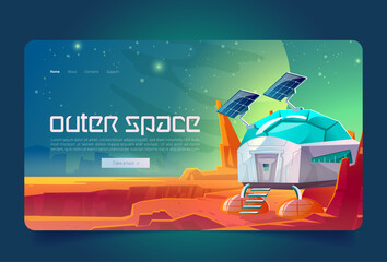 Fototapeta Outer space cartoon landing page, scientific station on alien planet surface. Cosmos colonization, bunker, science laboratory building at fantasy landscape background, computer game, vector web banner obraz