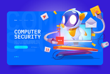 Fototapeta Computer security cartoon landing page, cute bot on computer monitor screen protect data and media files. Hacker cyber attack protection, internet network secure digital technology, Vector web banner obraz