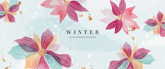 Fototapeta Watercolor art background vector. Wallpaper design with winter flower paint brush line art. Earth tone blue, pink, ivory, beige watercolor Illustration for prints, wall art, cover and invitation. obraz