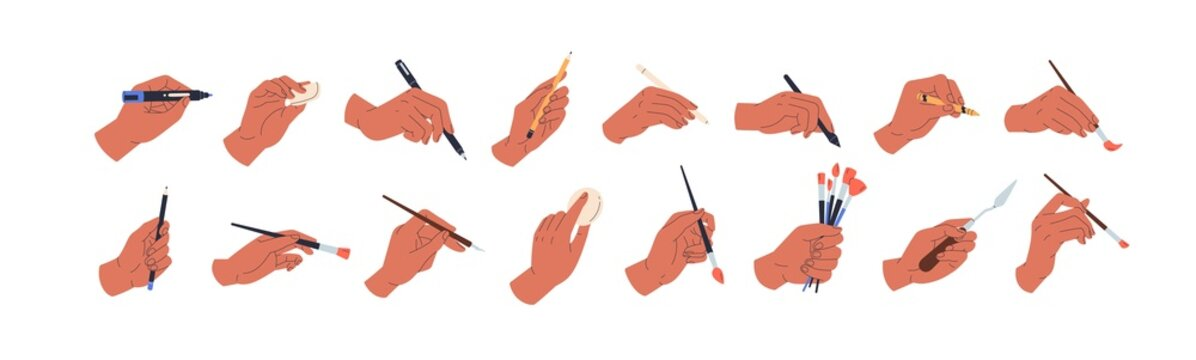 Set of painters hands draw and paint with pencil, chalk, pen, brush, paintbrush, painting knife, oil pastel and other artists tools. Colored flat vector illustration isolated on white background
