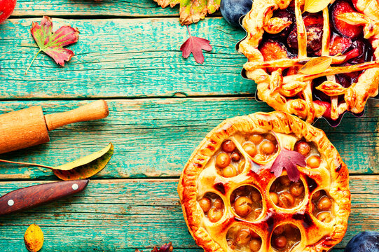 Rural pies baked with fruits