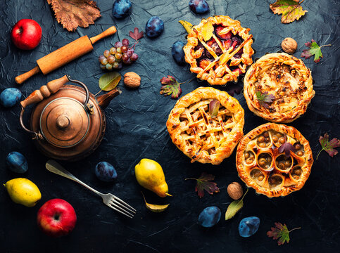 Autumn pies with fruits