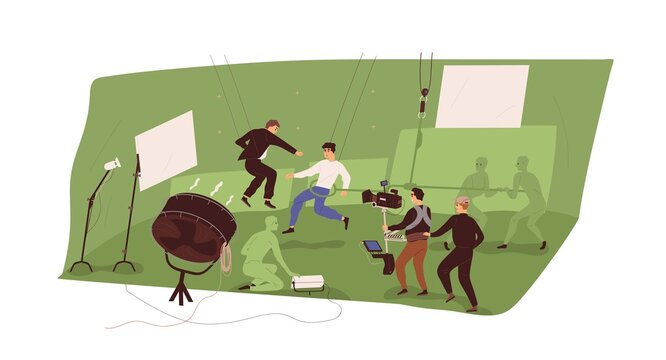 Cameraman, assistants and actors at film-making process, recording fight scene of action movie in chromakey studio. Backstage of video production. Flat vector illustration isolated on white background
