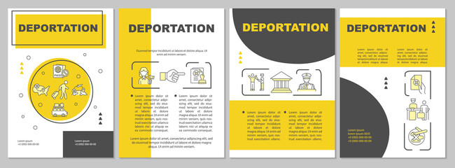 Obraz Departure brochure template. Official removal from country. Flyer, booklet, leaflet print, cover design with linear icons. Vector layouts for presentation, annual reports, advertisement pages - fototapety do salonu