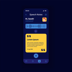 Fototapeta Speeh notes dark smartphone interface vector template. Mobile app page design layout. Writing message on cellphone. Text notification screen. Flat UI for application. Phone display obraz