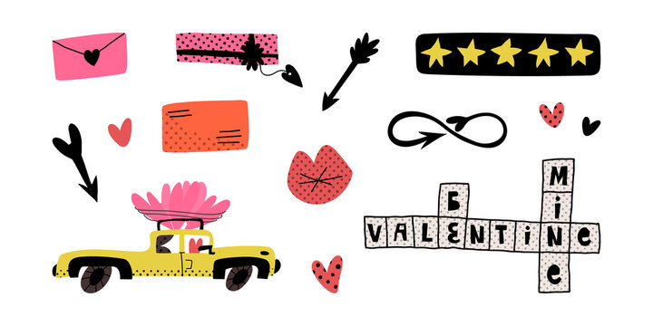 Valentine's Day pop art set. Hearts, arrows, love mail, infinity sign, car with huge hearts on the top, crossword