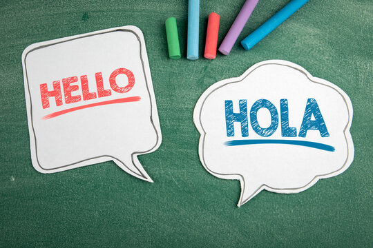 In English and Spanish the word Hello. Speech bubbles on a chalk board