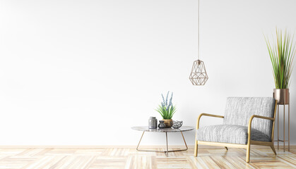 Obraz Interior with armchair and coffee table 3d rendering - fototapety do salonu