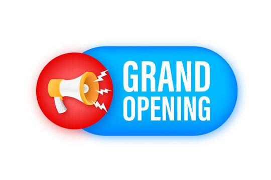 Megaphone label with grand opening. Megaphone banner. Web design. Vector stock illustration