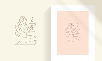 Fototapeta Beautiful woman kneeling and holding goblet line art style vector illustration obraz