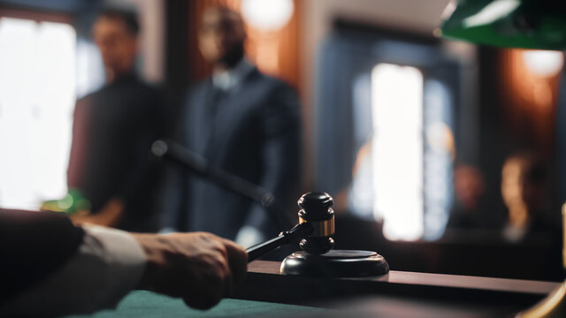 Cinematic Court of Law and Justice Trial: Judge Ruling Out a Positive Decision in a Civil Family Case, Close Up of a Striking Gavel to End Hearing.