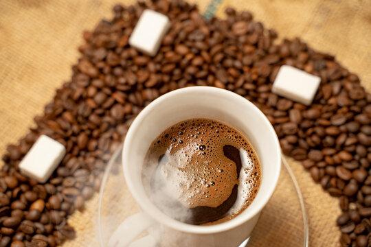 Top view of freshly made, black, turkish coffee