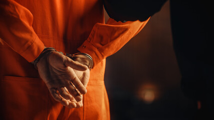 Obraz Cinematic Close Up Footage of a Handcuffed Convict at a Law and Justice Court Trial. Handcuffs on Accused Criminal in Orange Jail Jumpsuit. Law Offender Sentenced to Serve Jail Time. - fototapety do salonu