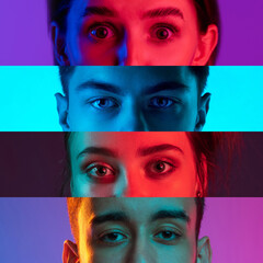 Obraz Collage of close-up male and female eyes isolated on colored neon backgorund. Multicolored stripes. - fototapety do salonu