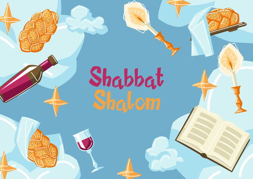 Shabbat Shalom frame with religious objects. Background with Jewish symbols. Judaism concept illustration.