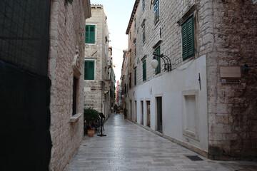 Beautiful view of the narrow streets of the Sibenik city in Croatia