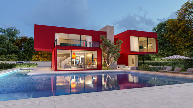 3D rendering of a big contemporary red villa with impressive garden and pool in the evening