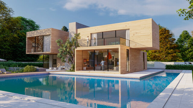 Big contemporary villa in light wood with pool and garden