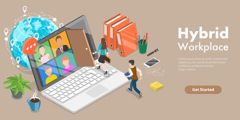 Fototapeta 3D Isometric Flat Vector Conceptual Illustration of Hybrid Workplace, Teleworking and Business Teamwork obraz