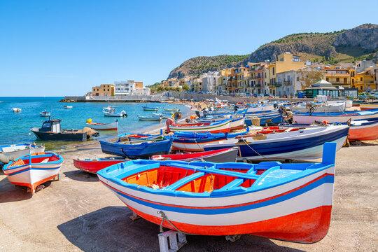 colorful fishing boats of aspra, sicily