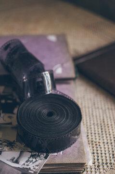 Vintage photo album, retro photos and old black-white film