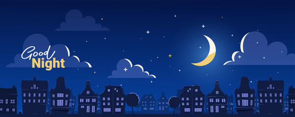 Obraz Vector illustration of silhouette of night city street on dark blue sky background with cloud and shine moon. Flat style design with text - fototapety do salonu