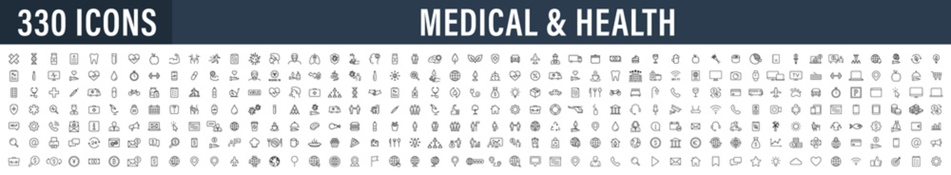 Set of 330 Medical and Health web icons in line style. Medicine and Health Care, RX, infographic. Vector illustration.