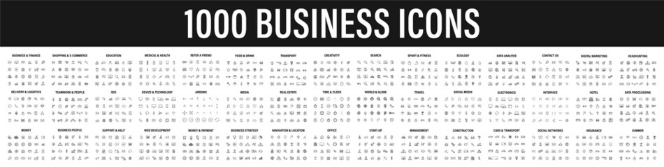 Fototapeta Set of 1000 Business icons. Business and Finance web icons in line style. Money, bank, contact, infographic. Icon collection. Vector illustration. obraz