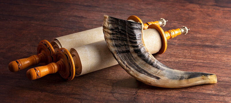 A Shofar Rams Horn and a Tora Scroll