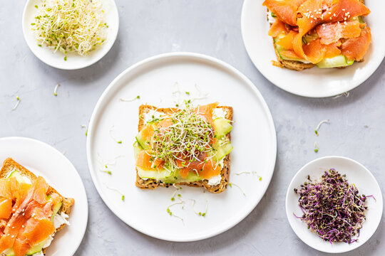 Flat lay top view of healthy sandwich with smoked salmon, cucumber, cream cheese and fresh microgreens alfalfa sprouts on white plate on gray concrete background. Healthy lifestyle. Growing sprouts