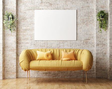 Mock-up poster, yellow sofa, and vintage brick background wall in the living room. 3d render, 3d illustration