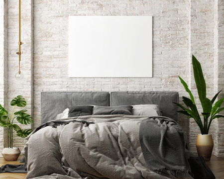 Mock-up poster in the bedroom, comfortable gray bed, vintage brick wall. 3d illustration