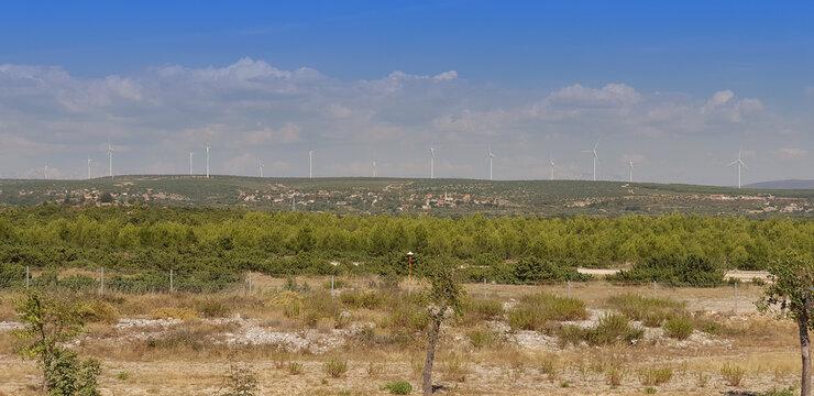 Wind turbines, wind farm, down wind farms