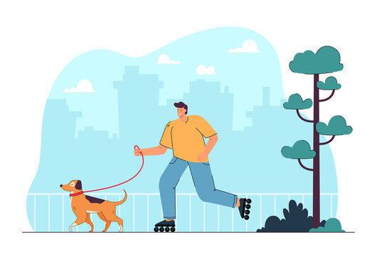 Cartoon man in roller skates walking dog in city park. Male character roller skating outside with puppy on leash flat vector illustration. Outdoor activity, pets concept for banner or landing web page