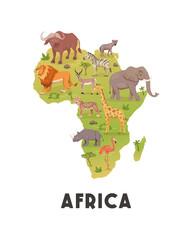 Fototapeta premium African Savannah Wild Animal Set, African Continent. Lion, Rhino, Zebra, Buffalo, Giraffe, Flamingo, Leopard, Gazelle, Elephant, Hyena. Vector Illustration. Animals of Africa. Savannh Safari Concept