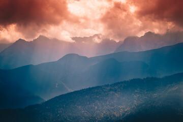 Fototapeta Sundown in Polish mountains  obraz