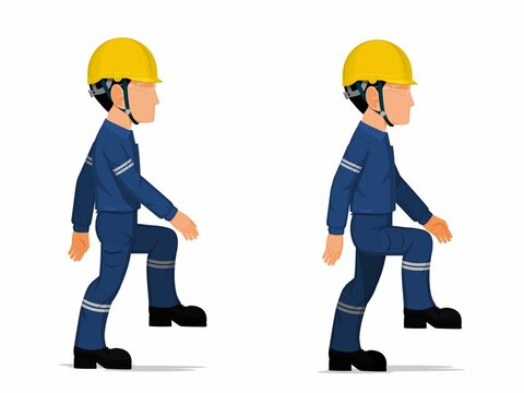 set of industrial worker is stepping up the stair on white background