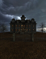 Obraz Abandoned and dilapidated spooky mansion with an iron gate, illuminated windows and wooden shelves on the windows under a dark cloudy sky. 3D rendering. - fototapety do salonu