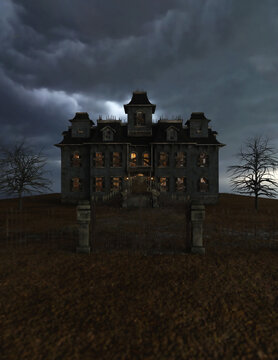 Abandoned and dilapidated spooky mansion with an iron gate, illuminated windows and wooden shelves on the windows under a dark cloudy sky. 3D rendering.