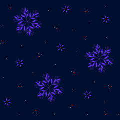 Bright Christmas and New Year seamless pattern with snowflakes. Dark blue winter background. Gift wrap and fabric design.