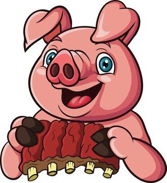 Cartoon pig holding meat ribs