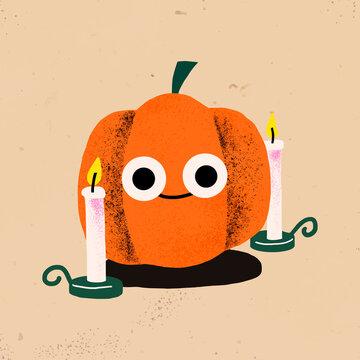 Halloween vector sticker, cute pumpkin illustration