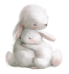 Obraz cute watercolor hares - mom and her kid - fototapety do salonu