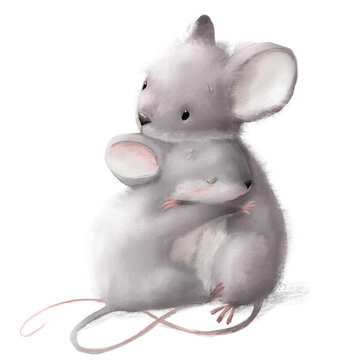 cute watercolor mouses - mom and her daughter