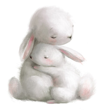 cute watercolor hares - mom and her kid